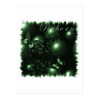 Verde cristiano del arte de las mariposas postal