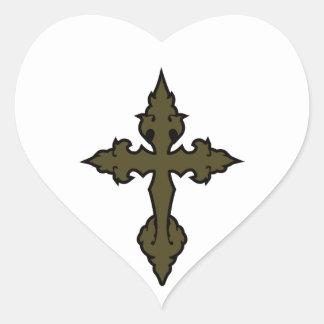 verde cruzado gótico del uniforme militar pegatina en forma de corazón