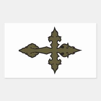 verde cruzado gótico del uniforme militar pegatina rectangular