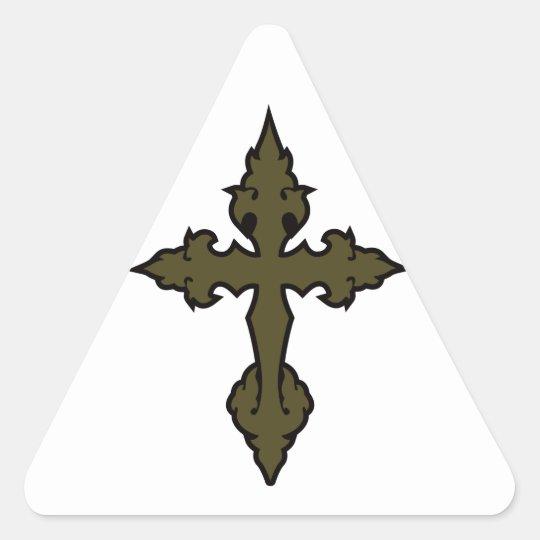 verde cruzado gótico del uniforme militar pegatina triangular