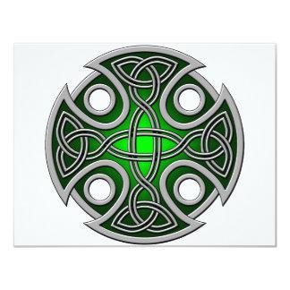 """Verde cruzado y gris del St. Brynach Invitación 4.25"""" X 5.5"""""""