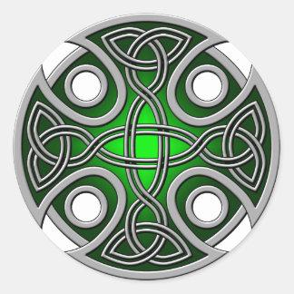 Verde cruzado y gris del St. Brynach Pegatina Redonda