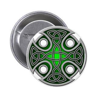 Verde cruzado y gris del St. Brynach Pin Redondo 5 Cm