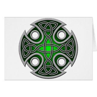 Verde cruzado y gris del St. Brynach Tarjeta De Felicitación