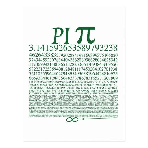 Verde cuadrado del pi postales