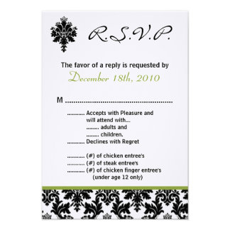 verde Damak del negro de la tarjeta de 3.5x5 R.S.V Invitaciones Personales