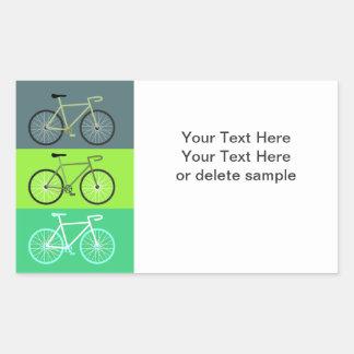 Verde de 3 bicis rectangular pegatinas