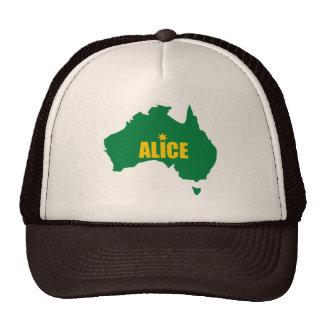 Verde de Alice Springs y casquillo del mapa del or Gorros