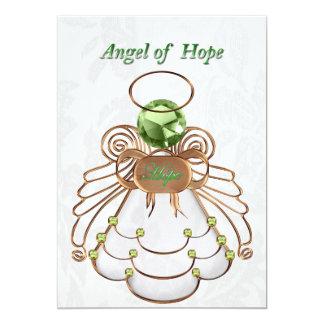 """Verde de bronce - ángel del navidad de la invitación 5"""" x 7"""""""
