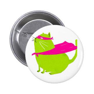 Verde de Catman Pin Redondo De 2 Pulgadas