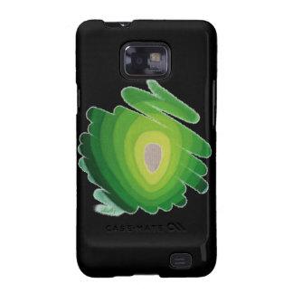 Verde de Chakra del corazón en la caja negra de la Samsung Galaxy SII Funda