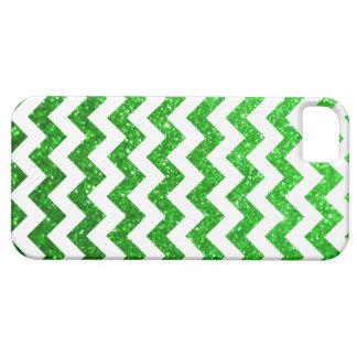 Verde de Chevron del brillo iPhone 5 Funda