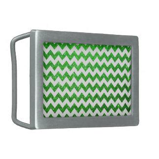 Verde de Chevron del brillo Hebillas De Cinturon Rectangulares