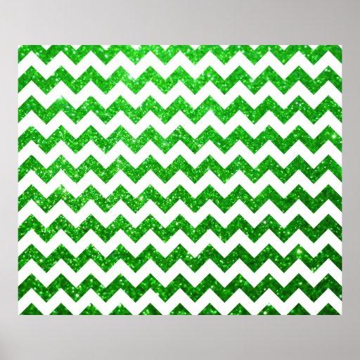 Verde de Chevron del brillo Poster