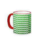 Verde de Chevron del brillo Tazas De Café