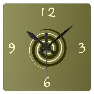 Verde de color caqui y reloj >Patterned limón de l