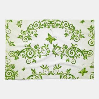 verde de com formas de caracol em del padrão toalla de mano