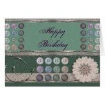 Verde de costura del entusiasta tarjeta de felicitación