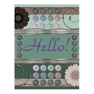 Verde de costura del entusiasta tarjetas postales