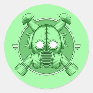 Verde de Gasmask del art déco Pegatina Redonda