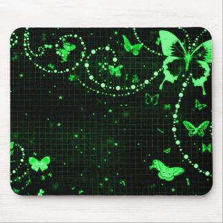 Verde de hadas de destello de la mariposa alfombrillas de raton
