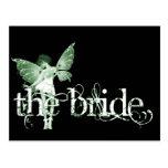 Verde de hadas del vestido blanco - la novia tarjeta postal