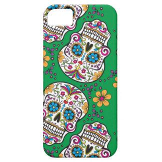 Verde de Halloween del cráneo del azúcar Funda Para iPhone 5 Barely There