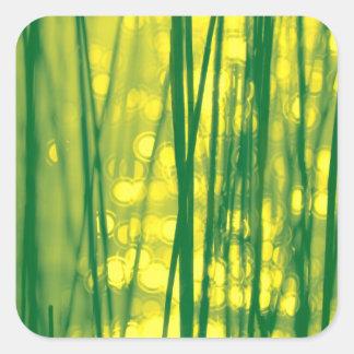 Verde de hierba de lámina/amarillo chispeantes pegatina cuadrada