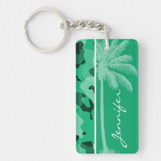 Verde de jade Camo Palma del verano Llaveros