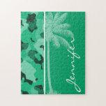 Verde de jade Camo; Palma del verano Puzzles Con Fotos