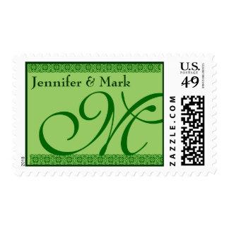 Verde de Kelly del monograma del novio de la novia Sello Postal