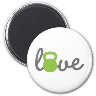 Verde de Kettlebell del amor Imán Redondo 5 Cm