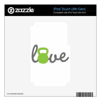 Verde de Kettlebell del amor iPod Touch 4G Skin