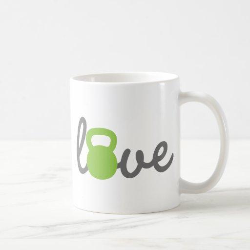 Verde de Kettlebell del amor Tazas De Café