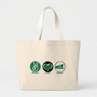 Verde de la alegría del amor de la paz bolsa de tela grande