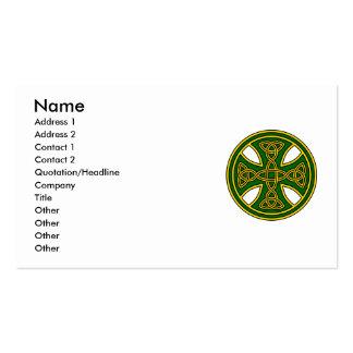 Verde de la armadura del doble de la cruz céltica tarjetas de visita