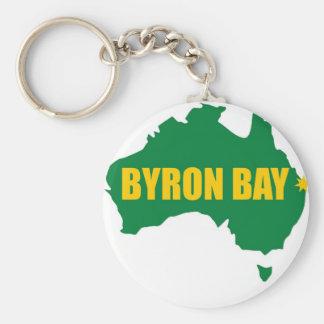 Verde de la bahía de Byron y mapa del oro Llavero Redondo Tipo Pin