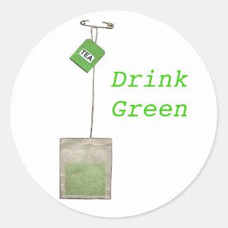 Verde de la bebida, pegatinas del té verde pegatina redonda