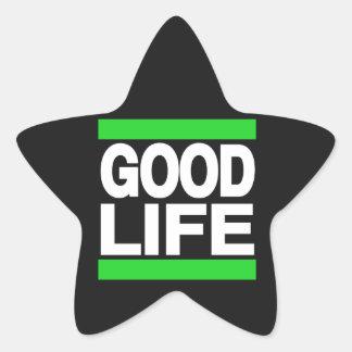 Verde de la buena vida pegatina en forma de estrella