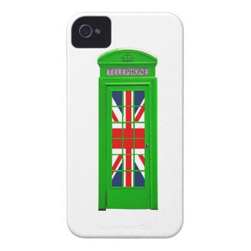Verde de la cabina de teléfonos de Londres iPhone 4 Funda