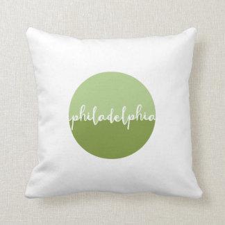 Verde de la caligrafía de Philadelphia Cojín