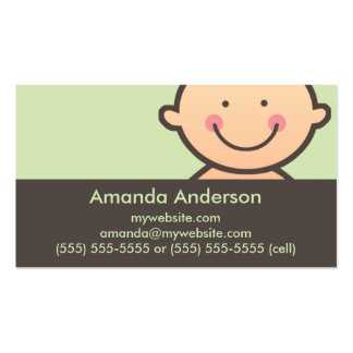 Verde de la cara del bebé y tarjetas de visita de