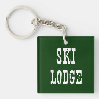 Verde de la casa de campo del esquí llavero cuadrado acrílico a una cara