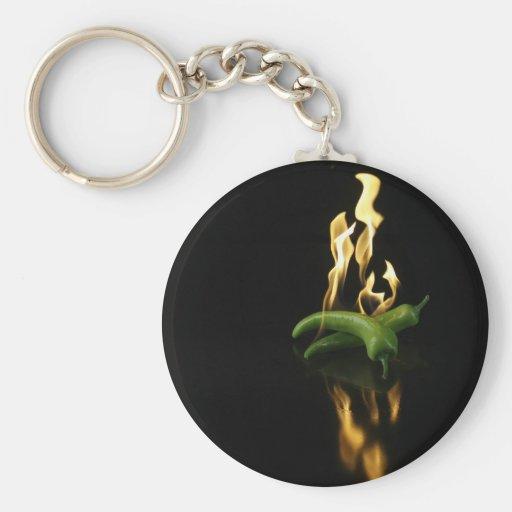 verde de la comida del fuego de la pimienta del llaveros