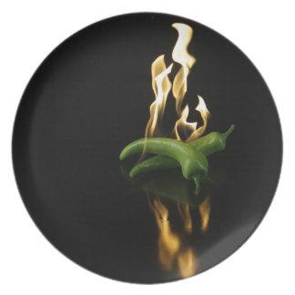 verde de la comida del fuego de la pimienta del pi