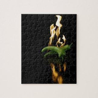 verde de la comida del fuego de la pimienta del rompecabezas con fotos