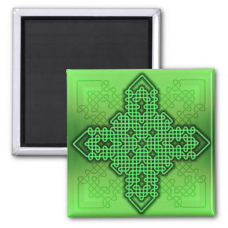 Verde de la cruz céltica 10 imán de frigorifico