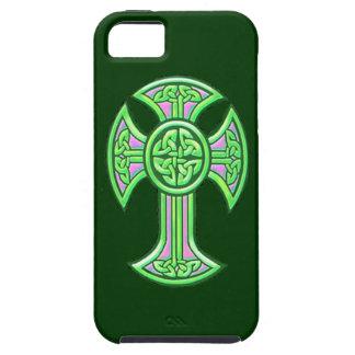 Verde de la cruz céltica 2 iPhone 5 fundas