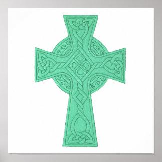 Verde de la cruz céltica 3 póster