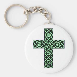 Verde de la cruz céltica 7 llavero